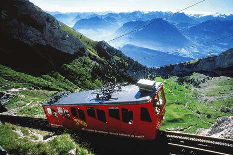 LUZERN - Pilatus - Die steilste Zahnradbahn der Welt und ein einzigartiges Alpenpanorama.  LUZERN - Pilatus - The steepest railway of the world and a unique panorama view of the Alps  Copyright by PILATUS-RAILWAY      By-line: swiss-image.ch